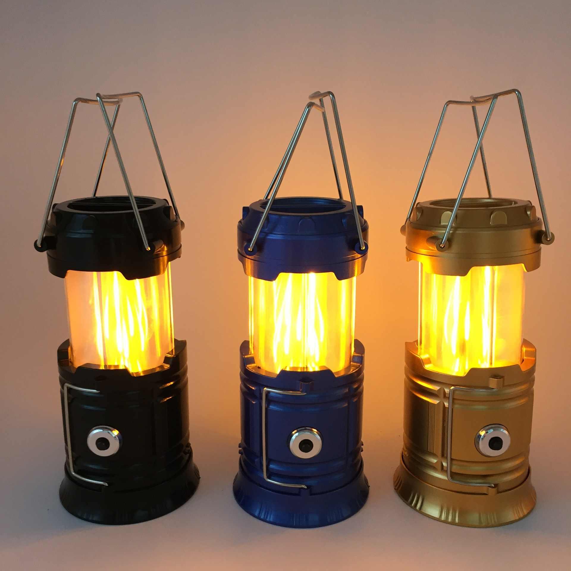 Палатки для кемпинга на открытом воздухе свет Портативный Фонари перезаряжаемая, на солнечной батарее атмосферу свет этапа бытовой пламенная лампа фонарик