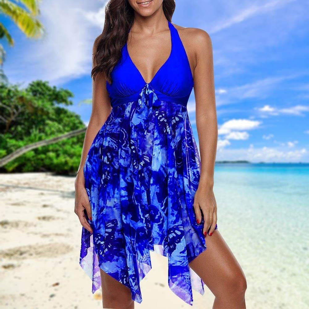 Women Sexy Bikini Floral Print Plus Size Two Piece Split Female Swimsuit Beach Irregular Hem Bathing Suit Mujer Tankini Swimwear