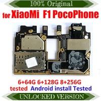 لوحة أم كاملة TDHHX تعمل مع شاومي Pocophone Poco F1 6G + 64G 6G + 128G 8G + 256G 100% G لوحة رئيسية منطقية أصلية غير مقفلة