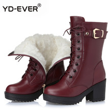 Women Female Mother Ladies Genuine Leather Shoes Boots Mid Calf Winter Plush Fur Warm Zipper Med Heel shoes(China)
