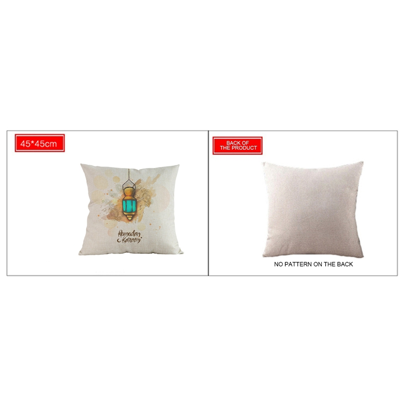 ABLA 45x45Cm Eid Mubarak Cushion Cover Ramadan Mubarak Decoration Home Islamic Muslim Party Favors Happy Eid Party Supplies