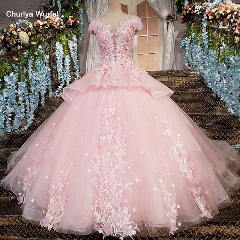 LS00196 Robe De Soiree Longue Zipper Back Floor Length Cap Sleeves Ball Gown 3D Flowers Luxury Pink Evening Dresses Real Photos