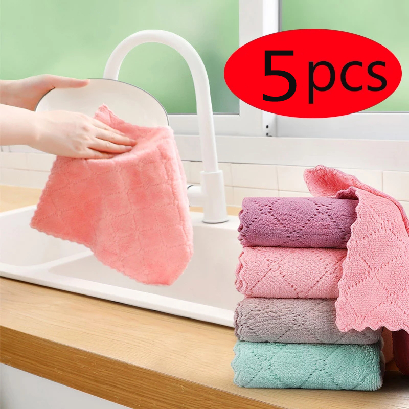 Hearty 5pcs Micro Fiber Cleaning Cloth Rags Water Absorption Non-stick Oil Kitchen Anti-grease Wiping Rags Efficient Household Tools