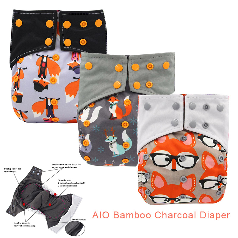 Ohbabyka All-In-One AIO Cloth Diaper For Baby Night Adjustable AI2 Bamboo Charcoal Eco-friendly Diaper Cover With Double Gussets