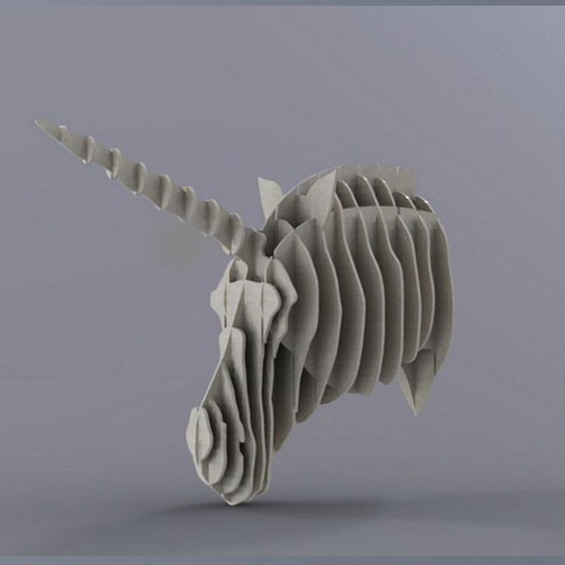 Unicorn Licorne Head 3D Model CNC Laser Cutting File CDR DXF Format File Vector Design Drawing