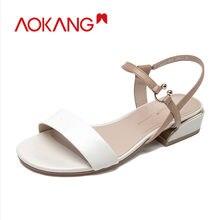 Женские сандалии aokang на плоской мягкой подошве модные высокого