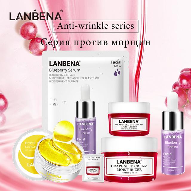 LANBENA Anti Wrinkle Series Skin Care  Retinol Eye Patches Sheet Mask Retinol Eye Patches Serum Nourishing Grape Seed Face Sets