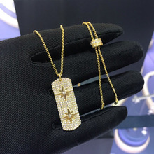 UMGODLY collier de luxe de haute qualité en cuivre et zircon jaune or, bijoux rectangulaires, étoiles sculptées
