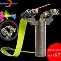 Laser apontando estilingue caça profissional estilingue ponteiro laser 360 estilingue com faixa de borracha 100 bolas de aço ao ar livre