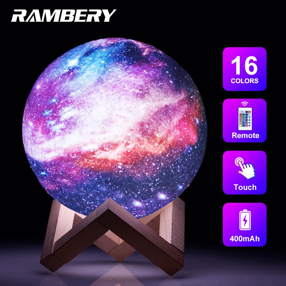 3D Лунная лампа, ночник с подставкой, звезда, галактика, 3D лунный ночник с дистанционным управлением