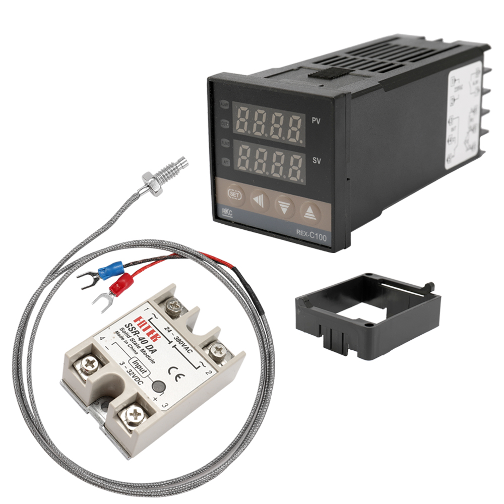 REX-C100 Thermocouple SSR-40DA Solid Relay Programmable Thermostats Dual Digital PID Temperature Controller Thermostat