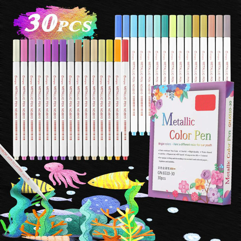 30 Colours Metallic Marker Pens for Glass Paint Markers Pen Alcohol Based Sketch Felt-Tip Oily Twin Brush Pen Art Supplies