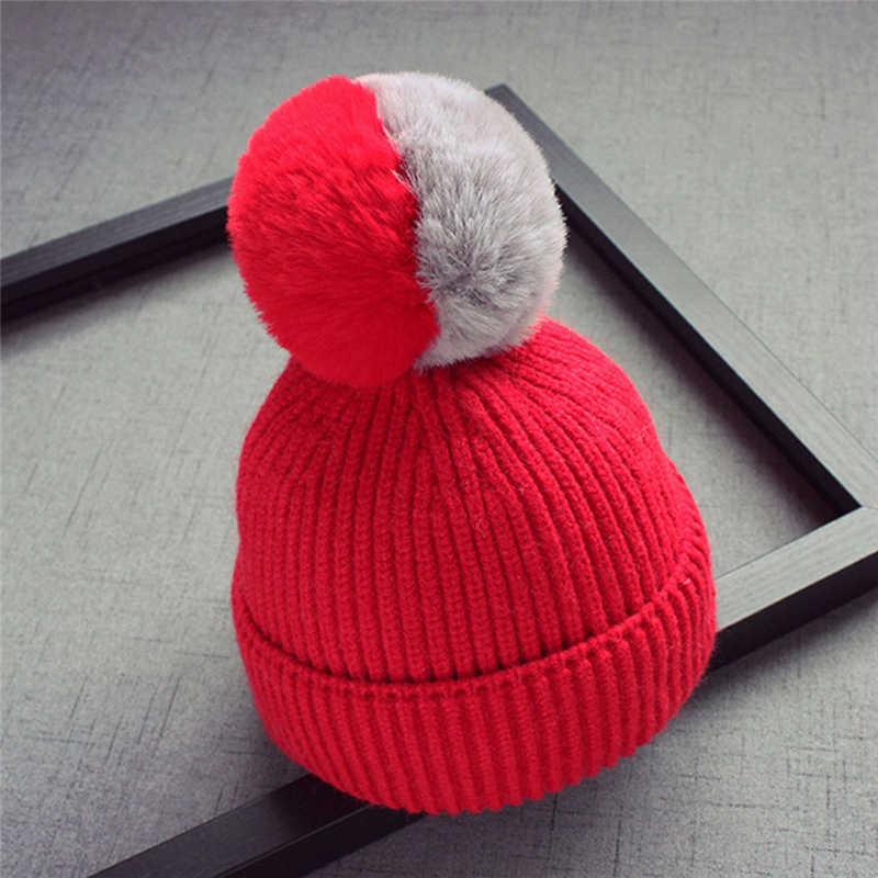 เด็กทารกถักหมวกอบอุ่นเด็ก Pompom หมวกโครเชต์เด็กหมวกขนสัตว์ร้อนน่ารักสีคู่ผมลูก Beanies หมวกฤดูหนาว