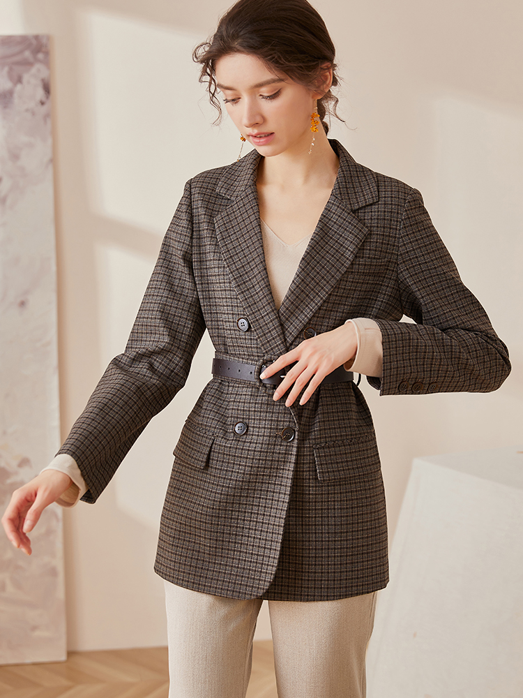 Luo Yi retro plaid suit jacket women's 2020 autumn and winter new professional lace-up waist warm suit