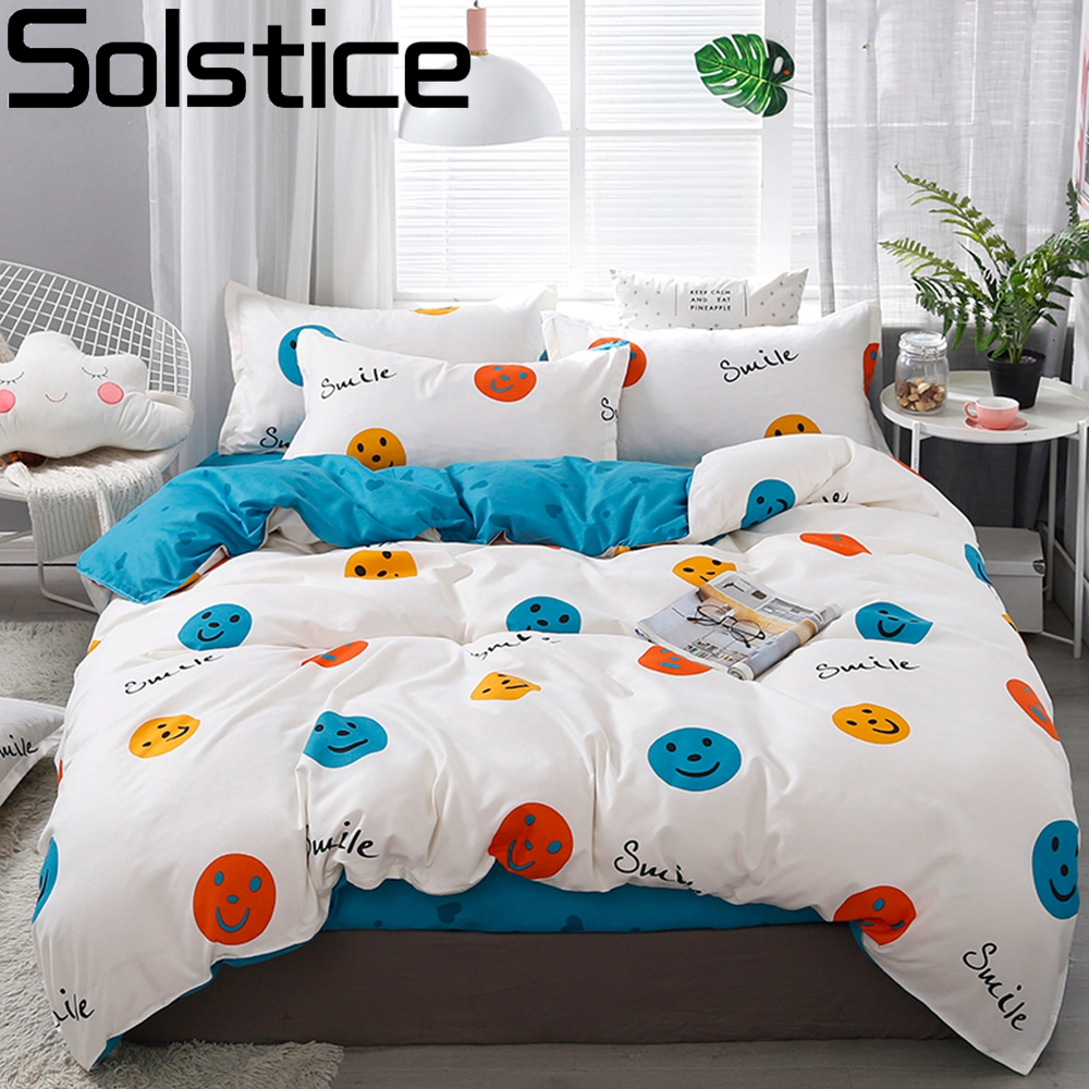 Solstice Home Textile Dinosaur Land Cartoon Blue Duvet Cover Pillowcase Flat Bed Sheet Kid Child Teen Boy Girl Bedding Linen Set