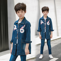 2019 Autumn Fashion Children's Jacket star printed denim trench coat for boys For 5 6 8 10 12 Year Kids outwear DX07022