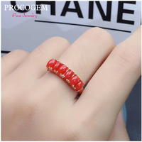 Simple PROCOGEM Trendy Natural Tourmaline Red Coral Ring for Women Gifts 3x5mm vvs Real gemstones Fine jewelry Rings S925 Silver