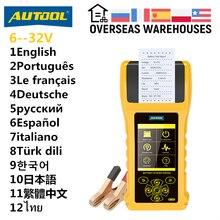 Autool bt760 analisador de testador bateria carro 12v 24v auto cranking ferramenta teste carregamento com impressora diagnóstico para caminhão motocicleta