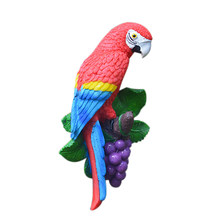 European Pastoral 3D Stereo Resin Parrot Wall Hanging Birds Ornaments Creative Home Background Wall Decoration Mural Crafts(China)