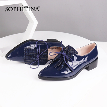 SOPHITINA New Office Women's Pumps Fashion Butterfly Knot Bling Decoration Solid High Quality Med Heel Shoes Slip-On Pumps C484
