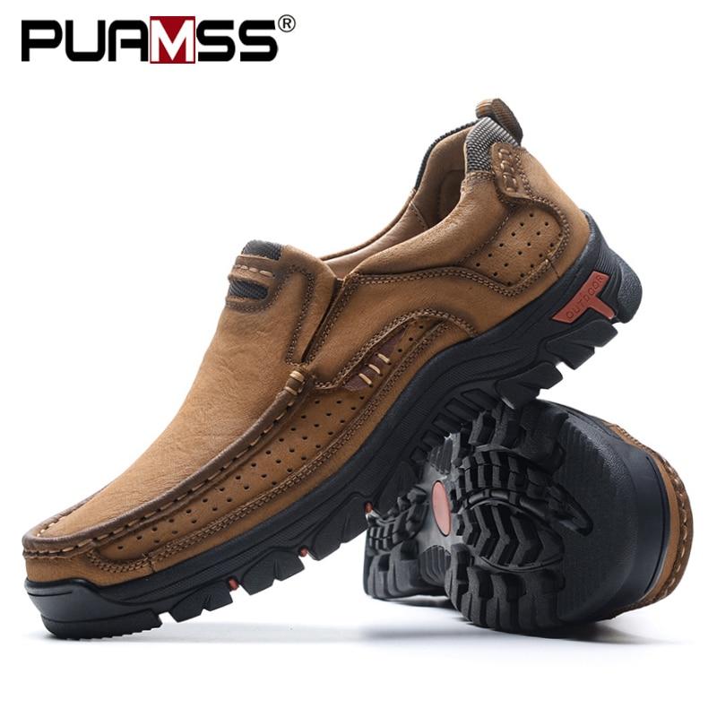 2019 Novos Homens Sapatos de Couro Genuíno Dos Homens Flats Loafers Alta Qualidade Homens Das Sapatilhas sapatos Masculinos Sapatos Casuais Ao Ar Livre Plus Size 48