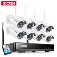 ZOSI 1080P Drahtlose CCTV System 8CH Leistungsstarke H.265 + NVR 8 stücke 2MP IP Kugel CCTV Kamera WiFi Sicherheit system Überwachung Kits