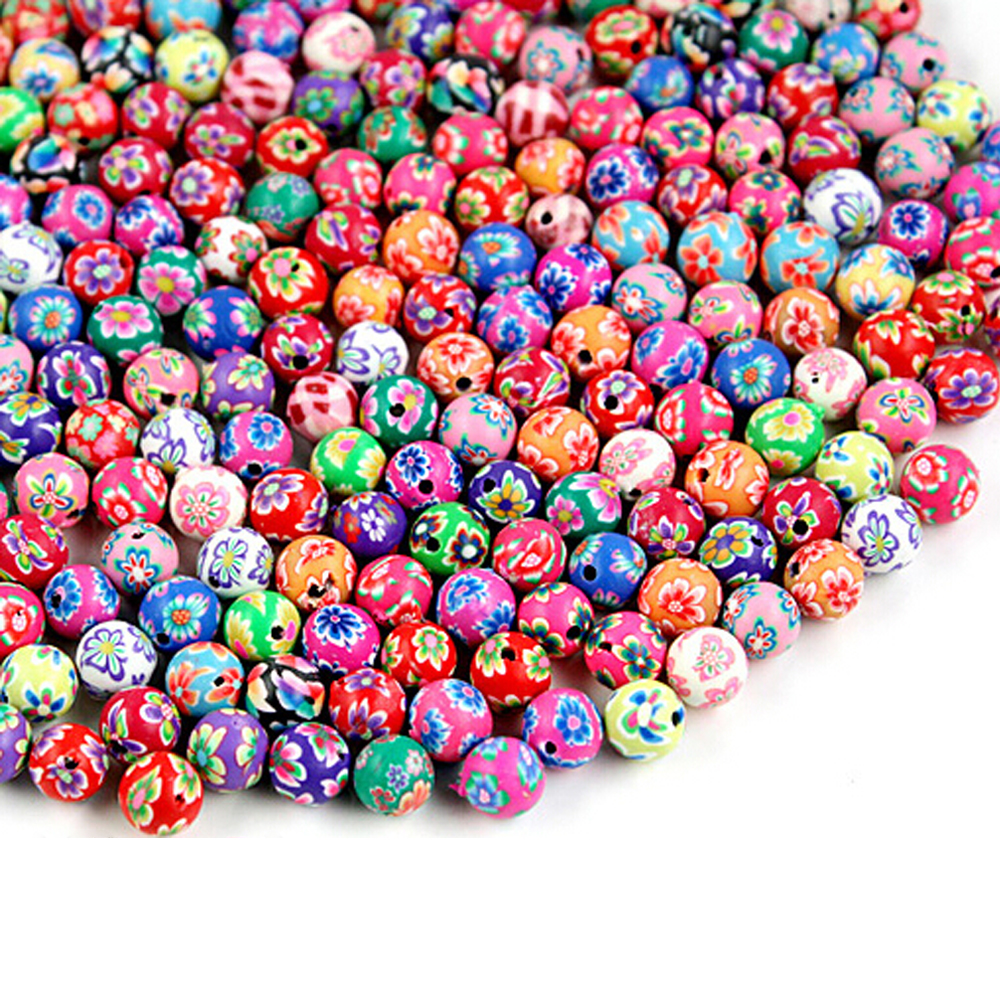 500Pcs 6mm mixed flowers polymer fimo clay round diy findings loose beads UK