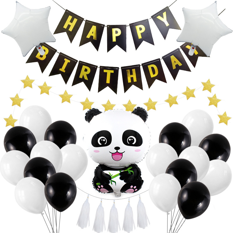 Panda Themed Party Decoration Supplies Children's Birthday Party Balloon Banner Straw Mermaid Pull Flag Shape Gift Ribbon Point