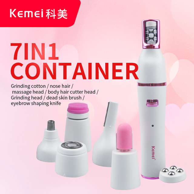 Kemei 7 In 1 Nose Hair Beard Eyebrow Rechargeable Women Electric Trimmer Hair Remover Device Lady Epilator Skin Care Tool 3