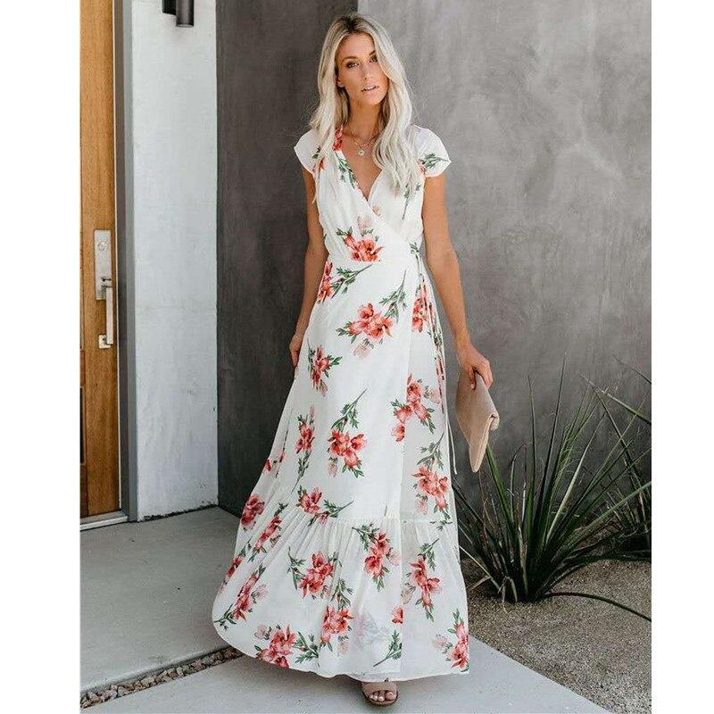 Платье Festa гот ботильоны в этническом стиле модное пляжное платье в стиле Boho Chic Элегантный женский Костюмы V образным вырезом печати торжест