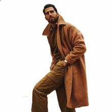 Wełniany płaszcz zimowy ciepły męski jednolity gruby dwurzędowy luźny ciepły długi trencz męska kurtka tanie tanio CN (pochodzenie) Pełna REGULAR Poliester Z wełny Grube 122601 Czesankowej Wełna mieszanki NONE Wełna poliester Stałe