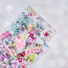 10/rolls/110X4/ 10 kolorowe folie do transferu paznokci naklejki mieszane kwiaty róża ptak liść projekt paznokci dekoracje artystyczne folia okłady kalkomanie