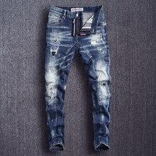 イタリアスタイルのファッションメンズジーンズスリムフィットにスプライシングリッピング男性ヒップホップパンツ高品質ストリートバイカージーンズジーンズ