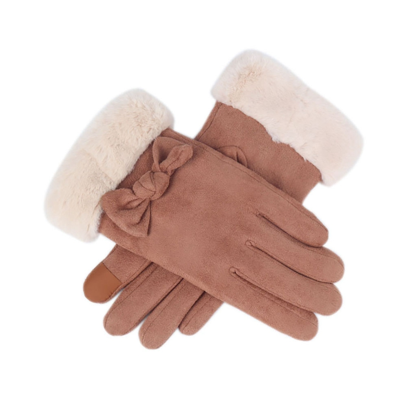 2019 New Women Gloves Plus Velvet Bowknot Touch Screen Outdoor Sport Warm Suede Mitts Full Finger Female Cold Protection Gloves