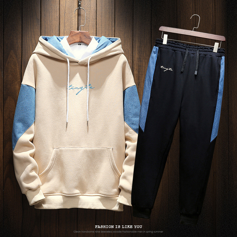 2018 Autumn Clothing New Style Japanese-style Loose-Fit Hooded Teenager Sports Large Size Casual Capri Pants Set