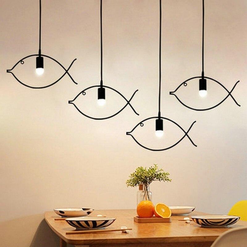 Fish Shape Pendant Lights Kitchen Modern Minimalist Geometric Hanging Lamp Nordic Style Home Lighting Fixtures Vintage Iron Lamp