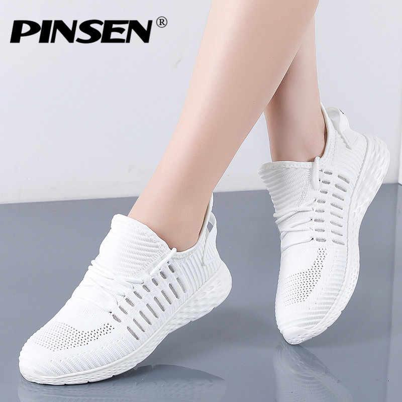 PINSEN 2020 패션 여성 플랫 신발 통기성 메쉬 캐주얼 신발 여성 레이스 업 스 니 커 즈 야외 산책 숙 녀 트레이너 신발