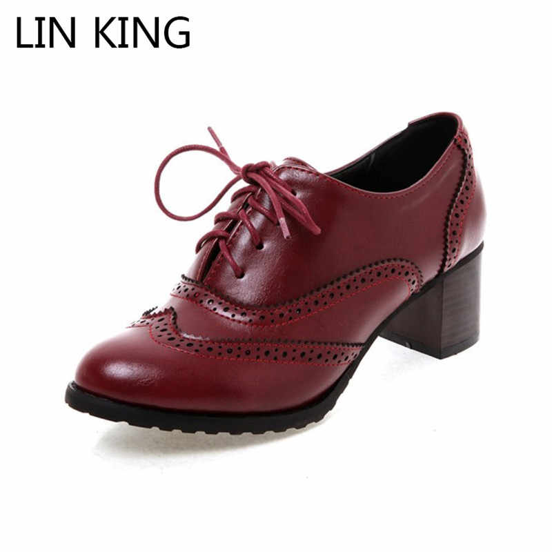 LIN KING Spring Autumn Women Shoes Lace Up Pointed Toe Pumps Ladies Shallow High Heel Shoes Square Heel Low Top Shoes Plus Size