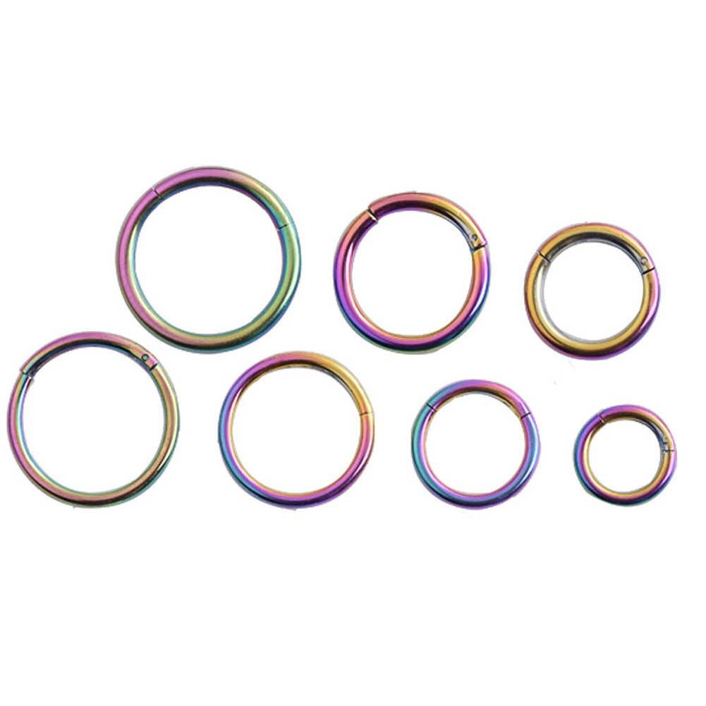 De titanio segmento abisagrado anillo de la nariz de 6mm a 14mm pezón Clicker oreja piercing en cartílago de la oreja Unisex anillos de joyería de moda