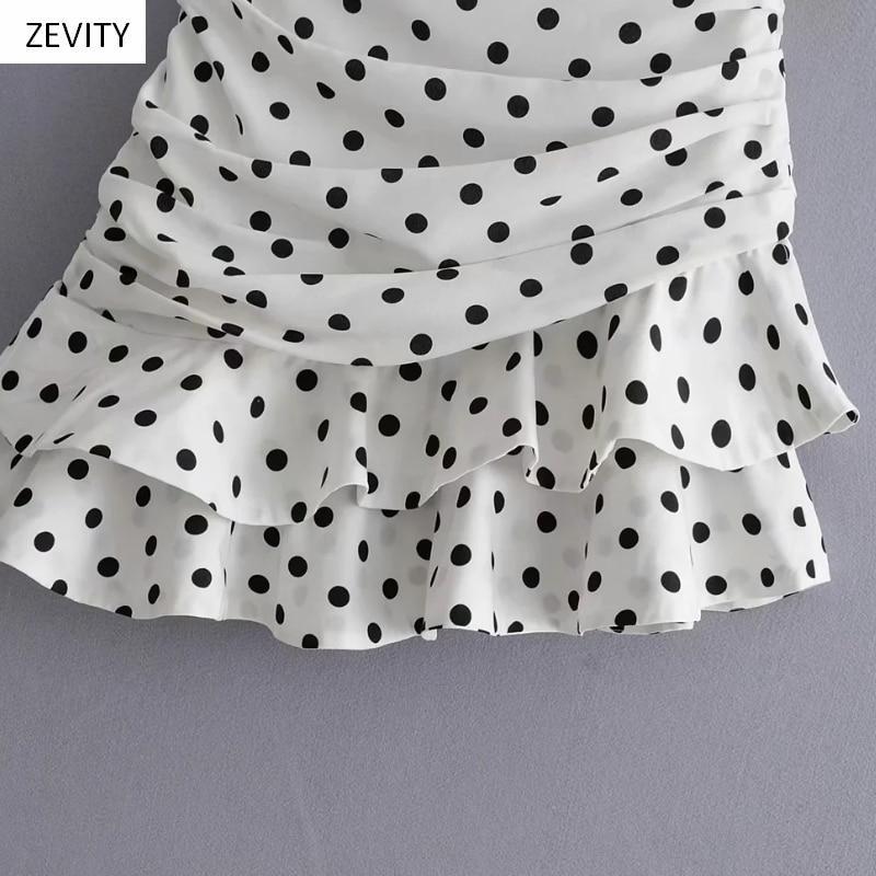 Polka Dot Print Pleated Asymmetrical Skirt 15