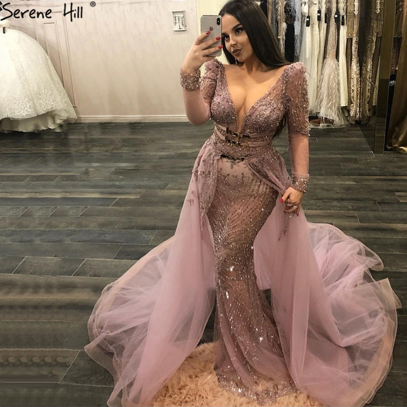 Dubai Pink V-Neck Luxury Evening Dresses 2019 Beading Sequined Sparkle Evening Gowns Serene Hill Plus Size LA60858