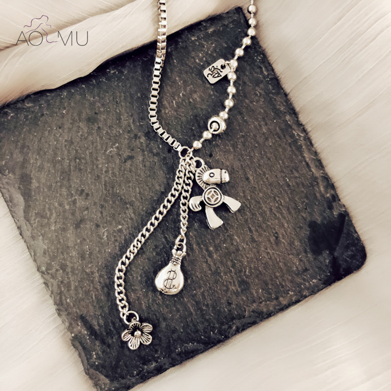 H974eea16cddc4354af2b0ccf734e47586 - AOMU New Pony Pendant Money Bag Flowers Tassel Retro Make Old Hip Hop Sweater Chain Long Necklace for Women Men Jewelry