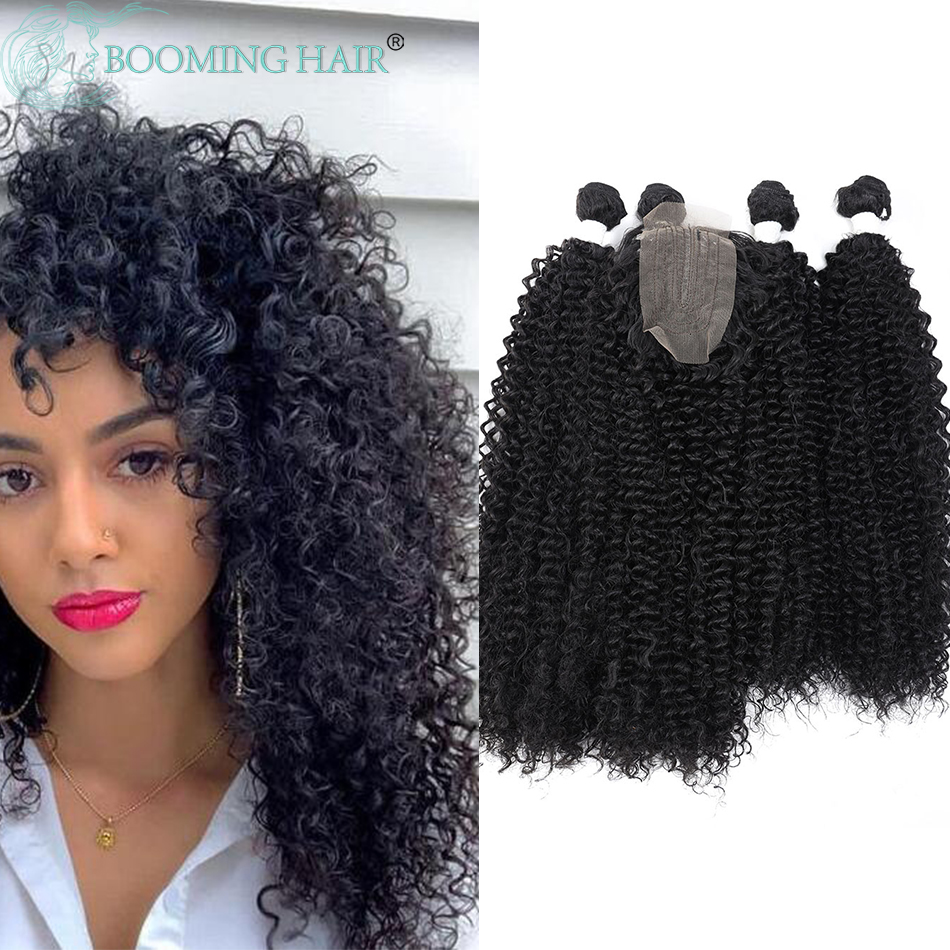 Afro Kinky Curly Hair Extensions Synthetic 4 Bundles With Free Closure Extension For Women Full Head Make A Wig False Hair