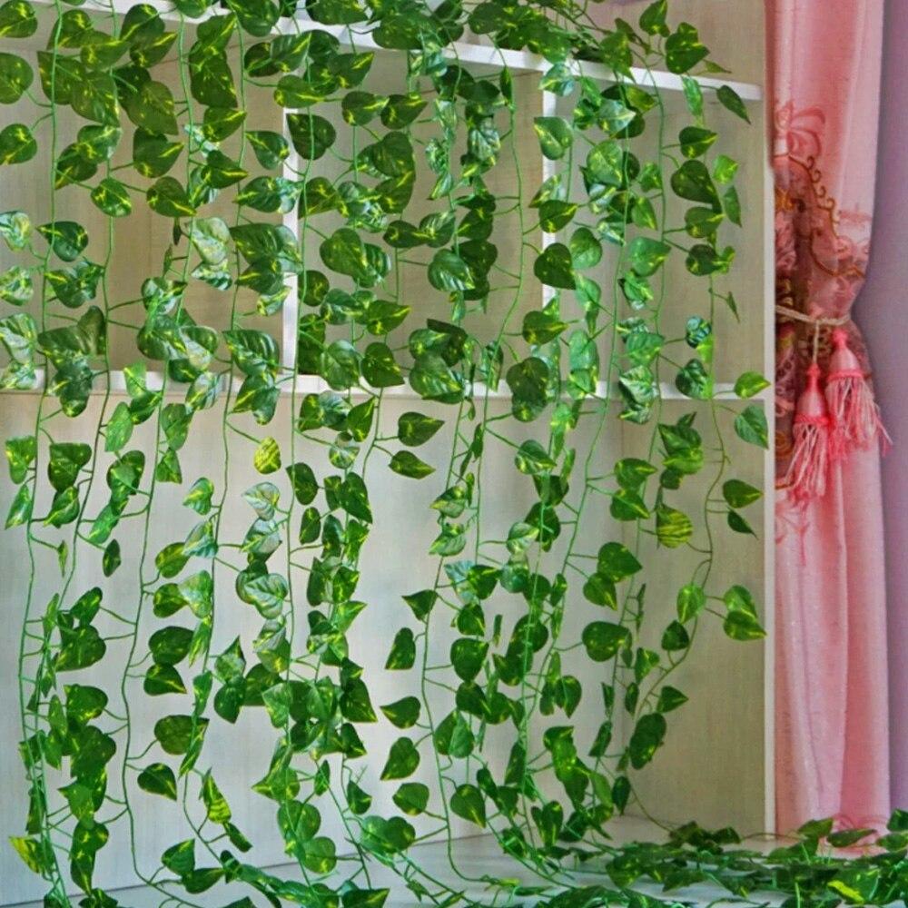 12 Uds. 2,1 M de hojas de, decoración Artificial para el hogar, guirnalda de hojas de hiedra, plantas, vid falsa, follaje, flores, enredadera, corona de hiedra verde