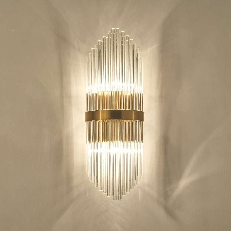 Modern Led Crystal Wall Lamp  Europe Restaurant Hotel Villa Corridor Stairs Glass Rod Wall Lamp