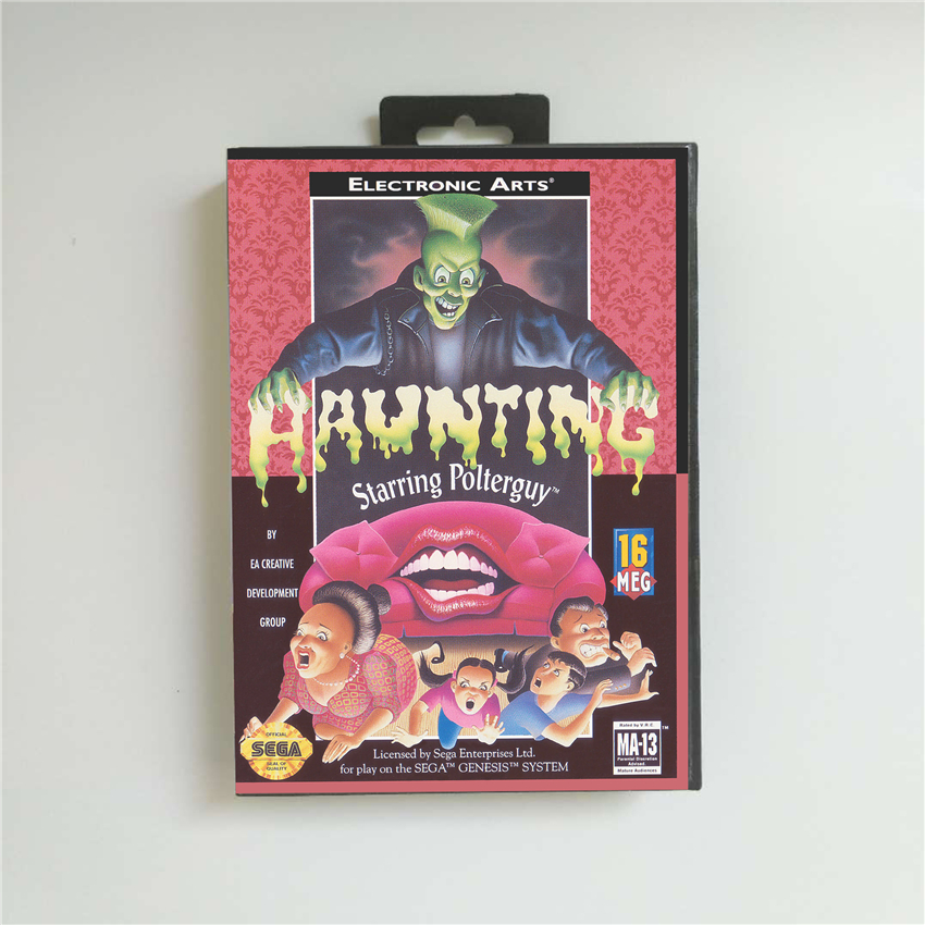 Haunting Starring Polterguy - USA Cover With Retail Box 16 Bit MD Game Card For Sega Megadrive Genesis Video Game Console