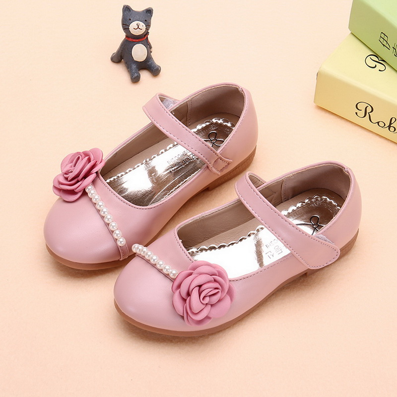 Autumn Girls Leather Shoes Children Girls Baby Princess Bowknot Sneakers Pearl Diamond Single Shoes Kids Dance Shoes Plus Size35