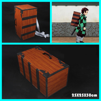 Japan Anime Demon Slayer Kimetsu No Yaiba Kamado Tanjirou Cosplay Box PVC Bag Prop 25x25x30cm