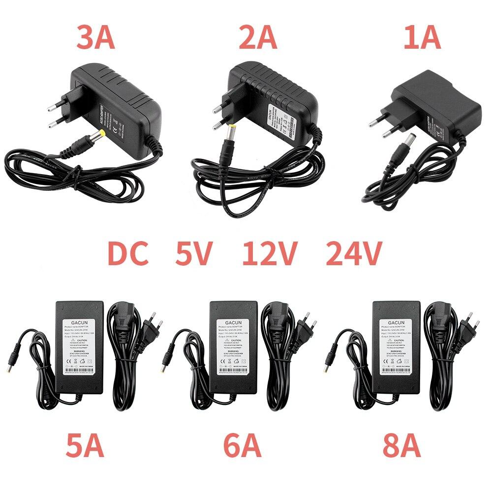 Adaptador de alimentação dc 5 v 12 v 24 v 1a 2a 3a 5a 6a 8a dc 5 12 24 v volt iluminação transformadores led driver adaptador de energia tira lâmpada