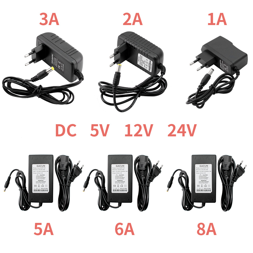 Power Adapter Supply DC 5V 12V 24V 1A <font><b>2A</b></font> 3A 5A 6A 8A DC 5 <font><b>12</b></font> 24 <font><b>V</b></font> Volt Lighting Transformers LED Driver Power Adapter Strip Lamp image